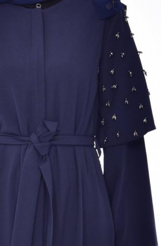 Abaya Bordée de Perles 35808-02 Bleu Marine 35808-02