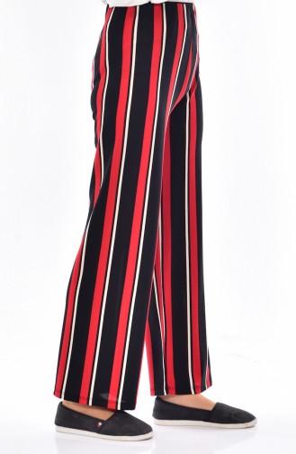 Pantalon Pattes Large a Rayure 7054A-03 Noir Rouge 7054A-03