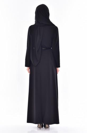 Übergröße Kleid mit Gürtel 9001-01 Schwarz 9001-01