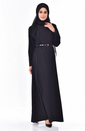 Robe a Ceinture Grande Taille 9001-01 Noir 9001-01