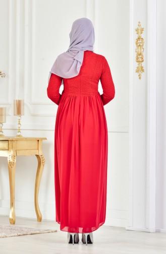 فستان سهرة بتفاصيل من الدانتيل 8150-05 لون أحمر 8150-05