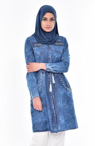 Jeans Hemd mit Perlen 0701-01 Jeans Blau 0701-01