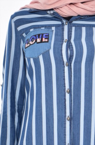 Striped Jeans Shirt 0712A-01 Blue 0712A-01