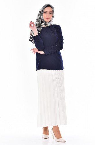 Navy Blue Blouse 0803-03