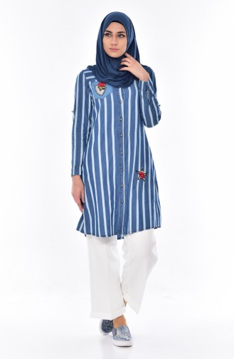 Striped Jeans Shirt 0712-01 Blue 0712-01