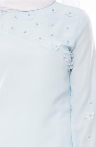 Bluse mit Perlen 0803-06 Minzengrün 0803-06