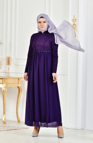 Abendkleid mit Spitzen 8150-04 Lila 8150-04