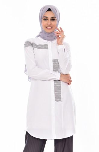 قميص مُزين بتفاصيل 1811911-305 لون أبيض 1811911-305