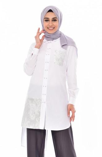 Garnili Gömlek 1811935-100 Beyaz 1811935-100
