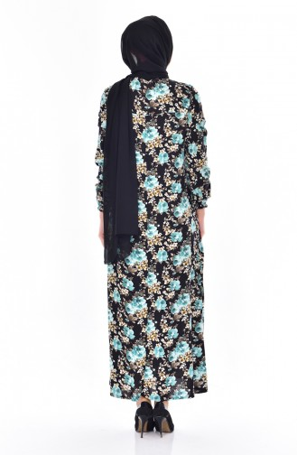 Dilber Rose Patterned Dress 6014-01 Blue 6014-01