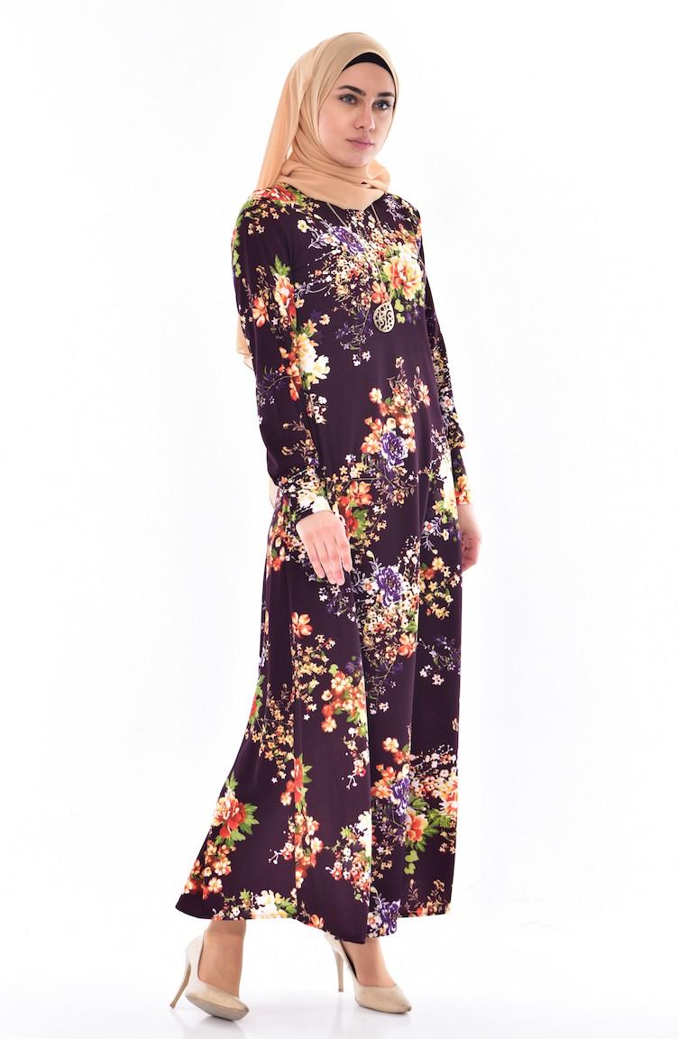 4a6b4b51ad265 Desenli Elbise 4124A-04 Mor Sarı