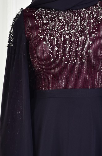 Claret red Islamic Clothing Evening Dress 3132-02