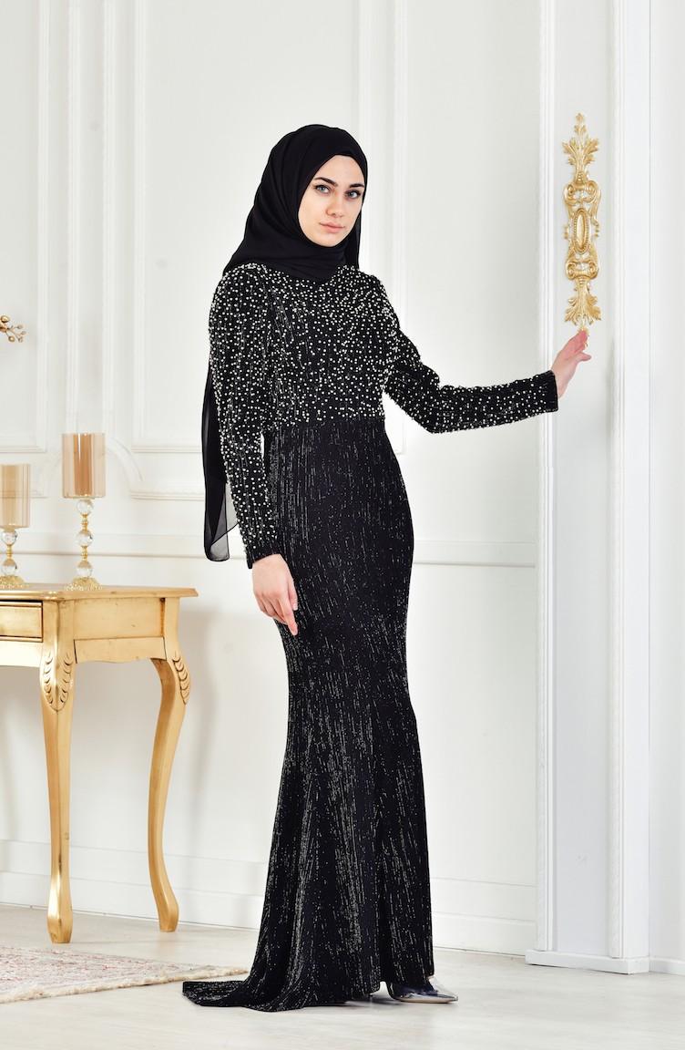 7732a2f067a31 Black Islamic Clothing Evening Dress 3130-01
