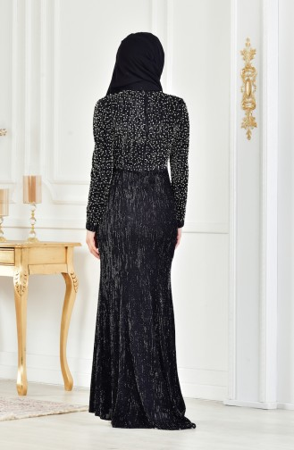 Black Islamic Clothing Evening Dress 3130-01