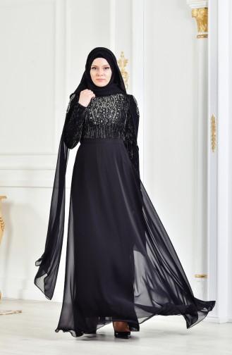 Robe de Soirée a Paillette İmprimée de Pierre 3132-01 Noir 3132-01