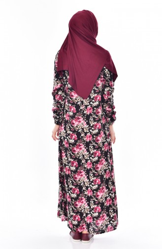 Robe a Motifs Roses 6014-02 Noir 6014-02