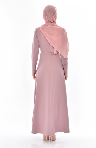 Hijab Kleid mit Gürtel 1085-03 Rosa 1085-03