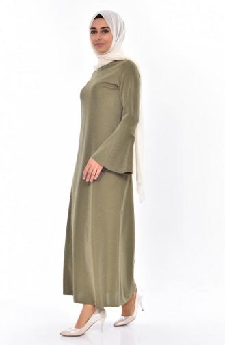 Simli Elbise 6019-01 Haki 6019-01