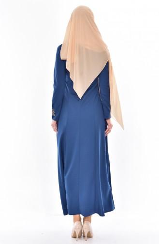 Embroidered Judge Collar Dress 4401-13 Indigo 4401-13
