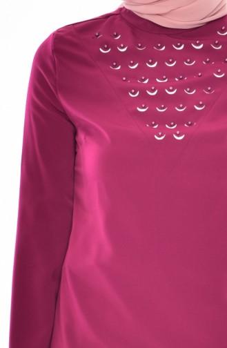 Bluse mit Perlen 1160-07 Zwetschge 1160-07