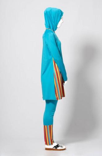 Maillot de Bain a Motifs Rayure 1853-03 Turquoise 1853-03