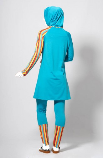 Striped Patterned Swimsuit 1853-03 Turquoise 1853-03