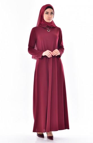 Kleid mit Halskette 3027-02 Weinrot 3027-02