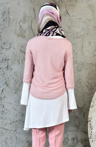 Kolyeli Tunik Bluz İkili Takım 1811899-711 Pudra Ekru 1811899-711
