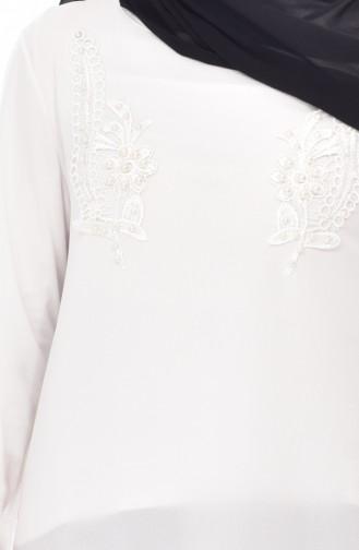 Tunique Perlées Asymétrique 1018-06 Ecru 1018-06