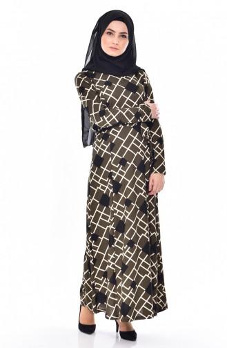 Geometrisch Gemustertes Kleid 4804-02 Khaki 4804-02
