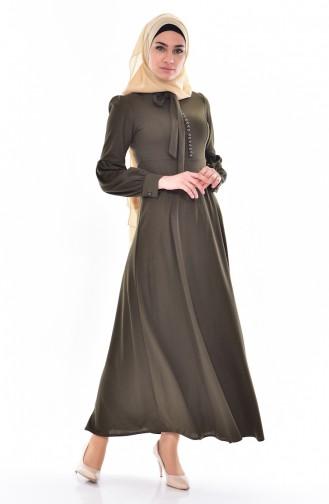 Kleid mit Krawattenkragen 0527-07 Khaki 0527-07
