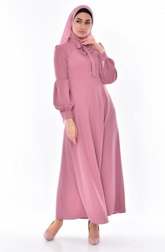 Kleid mit Krawattenkragen 0527-04 Puder 0527-04