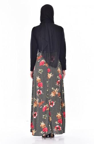 فستان بتصميم مطبع مع حزام خصر  2267-02