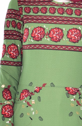 Desenli Elbise 0523-02 Fıstık Yeşili