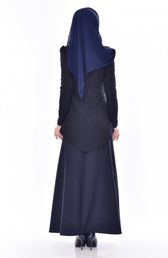 فستان مزين بتفاصيل لامعة 7178-05 لون كُحلي داكن 7178-05