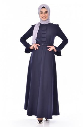 Kleid mit Gürtel 1084-02 Dunkelblau 1084-02