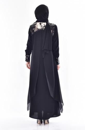 Abaya a Paillette 35818-01 Noir 35818-01