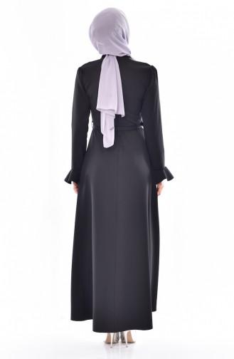 Kleid mit Gürtel 1084-01 Schwarz 1084-01