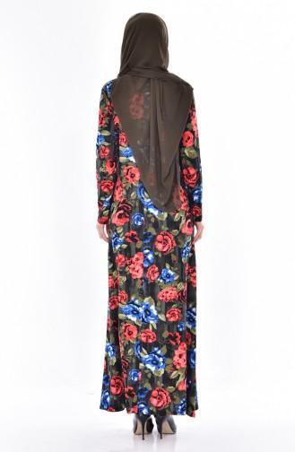 Desenli Elbise 7500-01 Siyah 7500-01