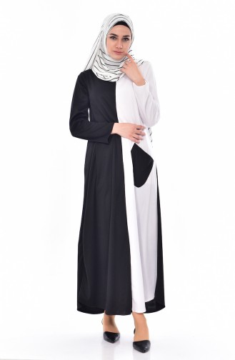 Patchwork Kleid 3314-04 Schwarz Weiß 3314-04