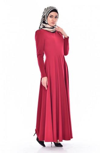 Jacquard Flared Dress 7183-06 Claret Red 7183-06