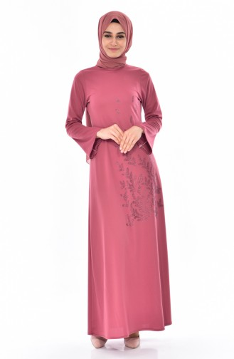 Otantik Taşlı Elbise 6025-08 Gül Kurusu