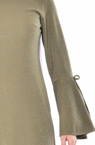 دلبر فستان بتصميم لامع مُزين بفيونكا 6020-01 لون كاكي 6020-01