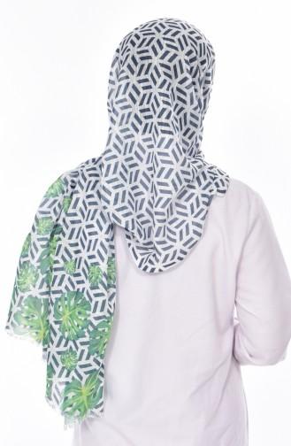 Leaf Patterned Shawl 95129-01 Grass Green 01