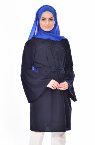 Buttoned Pleated Tunic 3179-02Navy Blue 3179-02