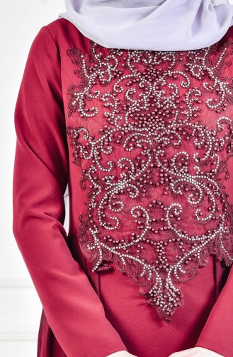 Stone Embroidered Evening Dress 52690-01 Claret Red 52690-01