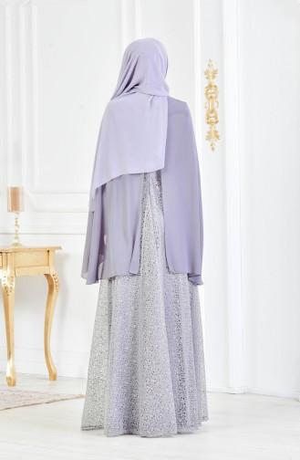 فستان يتميز بتفاصيل من الترتر 3287-01 لون رمادي 3287-01