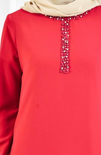 Abendkleid mit Strassstein 9102-01 Rot 9102-01