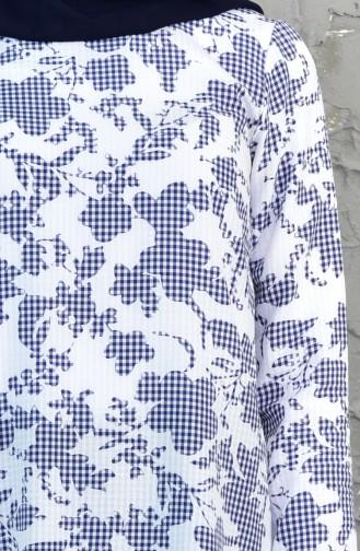 Patterned Basic Tunic 1024-02 Navy 1024-02