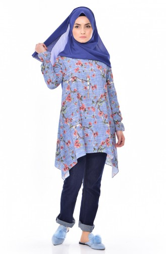 Printed Asymmetrical Tunic 5303A-04 Blue 5303A-04